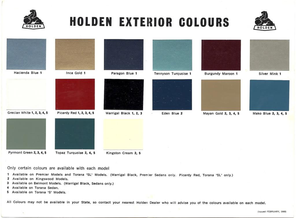 Eh Holden Paint Code