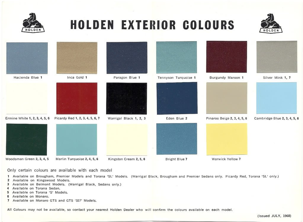 1968 73 Holden And Torana Paint Charts Paint Amp Panel