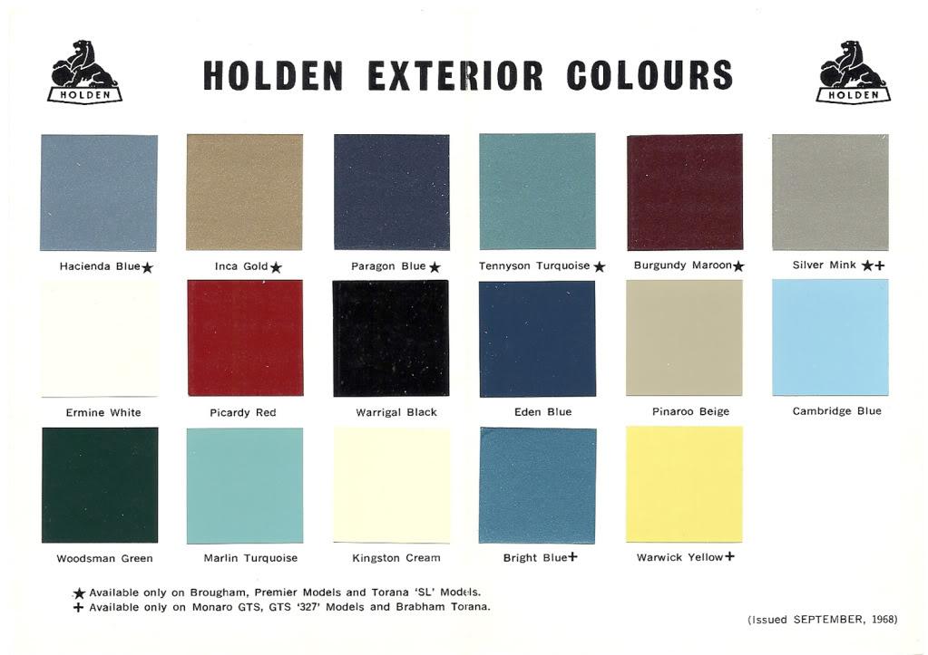 Holden Hz Paint Codes