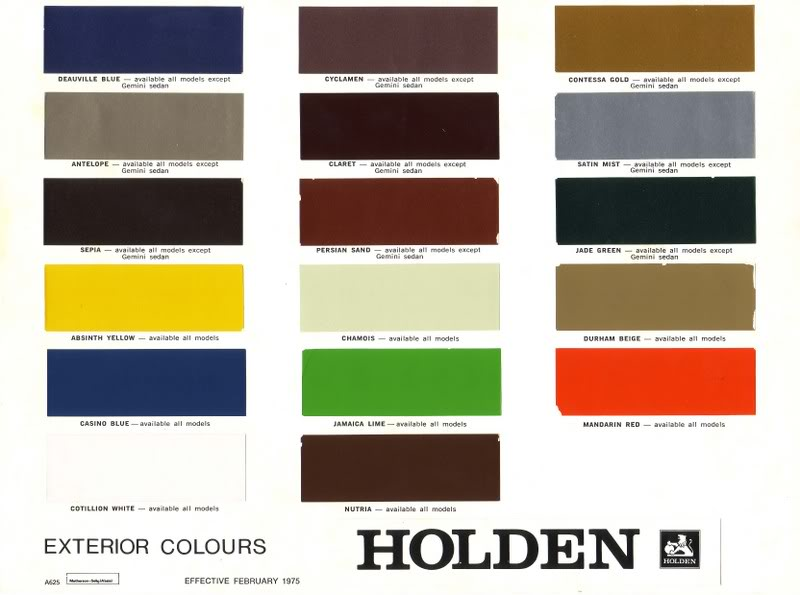 Holden Ve Paint Codes