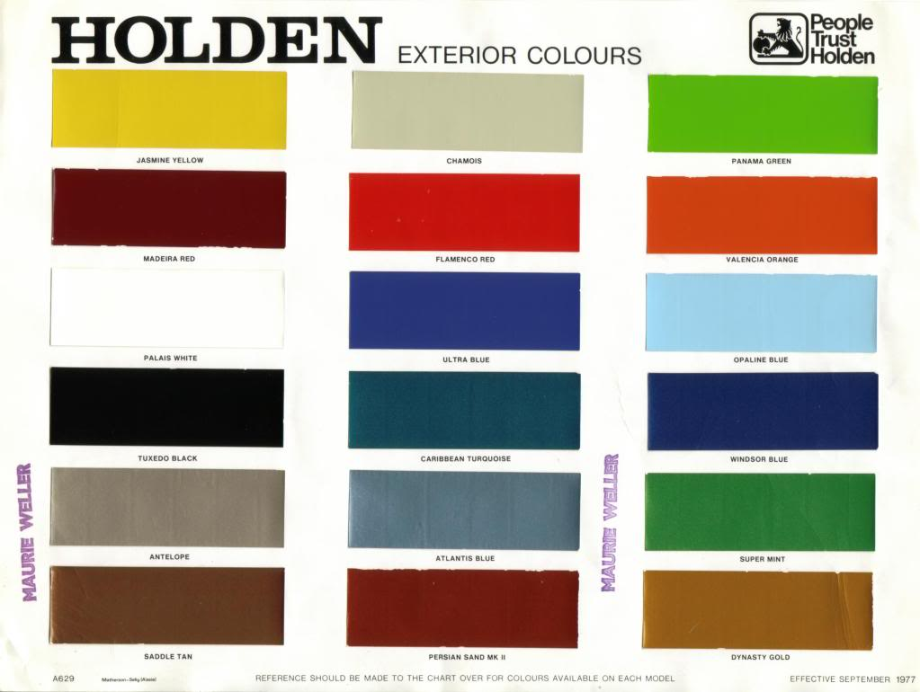 Holden Commodore Paint Colours